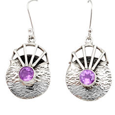 Clearance Sale- 2.74cts natural purple amethyst 925 sterling silver dangle earrings d35121