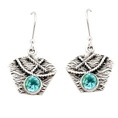 2.34cts natural blue topaz 925 sterling silver dangle earrings jewelry d35125