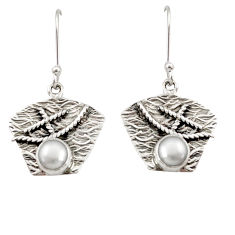 Clearance Sale- 925 sterling silver 2.22cts natural white pearl dangle earrings jewelry d35128