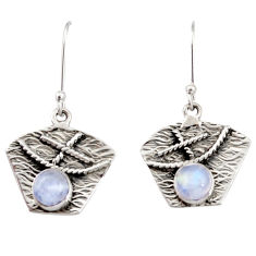 Clearance Sale- 2.34cts natural rainbow moonstone 925 sterling silver dangle earrings d35129