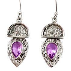 4.46cts natural purple amethyst 925 sterling silver dangle earrings d35140