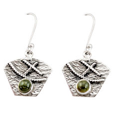 Clearance Sale- 1.81cts natural green tourmaline 925 sterling silver dangle earrings d35143