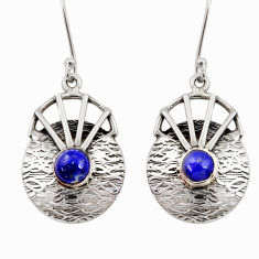 Clearance Sale- 925 sterling silver 2.41cts natural blue lapis lazuli dangle earrings d35144