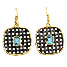 3.48cts black rhodium natural blue topaz 925 silver 14k gold earrings d37505