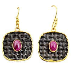 Clearance Sale- 3.46cts black rhodium natural red ruby 925 silver 14k gold earrings d37506