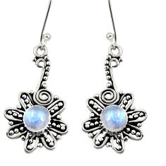 Clearance Sale- 1.81cts natural rainbow moonstone 925 sterling silver dangle earrings d37902