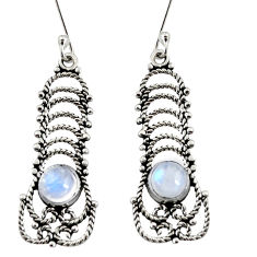 Clearance Sale- 1.54cts natural rainbow moonstone 925 sterling silver dangle earrings d37915