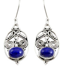 Clearance Sale- 4.08cts natural blue lapis lazuli 925 sterling silver dangle earrings d37916