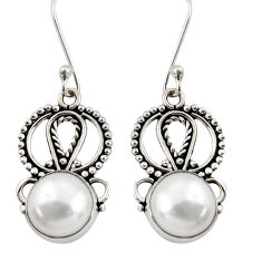 Clearance Sale- 9.47cts natural white pearl 925 sterling silver dangle earrings jewelry d37920