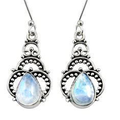 Clearance Sale- 4.69cts natural rainbow moonstone 925 sterling silver dangle earrings d37921