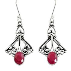 Clearance Sale- 4.46cts natural red ruby 925 sterling silver dangle earrings jewelry d37922