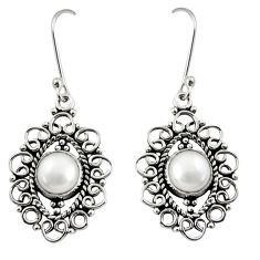 Clearance Sale- 6.54cts natural white pearl 925 sterling silver dangle earrings jewelry d37923