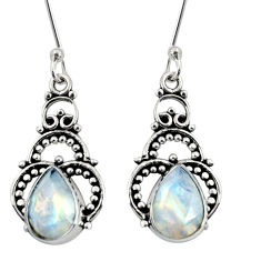 Clearance Sale- 7.24cts natural rainbow moonstone 925 sterling silver dangle earrings d37927