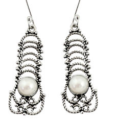 Clearance Sale- 2.33cts natural white pearl 925 sterling silver dangle earrings jewelry d37929