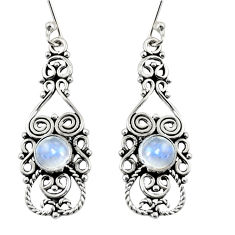 Clearance Sale- 2.46cts natural rainbow moonstone 925 sterling silver dangle earrings d37935