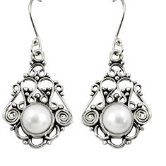 Clearance Sale- 925 sterling silver 7.63cts natural white pearl dangle earrings jewelry d37937