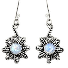 Clearance Sale- 2.42cts natural rainbow moonstone 925 sterling silver dangle earrings d37953