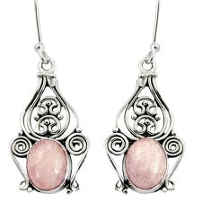 Clearance Sale- 6.33cts natural pink morganite 925 sterling silver dangle earrings d37956