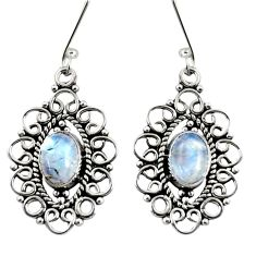 4.21cts natural rainbow moonstone 925 sterling silver dangle earrings d37960