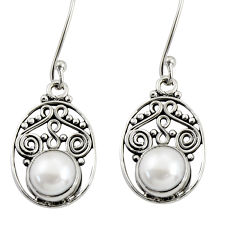 4.84cts natural white pearl 925 sterling silver dangle earrings jewelry d37961