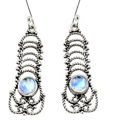 Clearance Sale- 2.41cts natural rainbow moonstone 925 sterling silver dangle earrings d37962