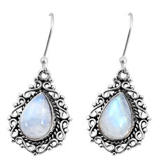 925 sterling silver 7.54cts natural rainbow moonstone dangle earrings d37964