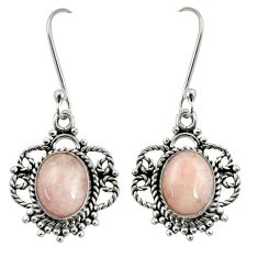 Clearance Sale- 7.24cts natural pink morganite 925 sterling silver dangle earrings d37967