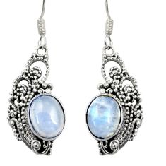 Clearance Sale- 6.31cts natural rainbow moonstone 925 sterling silver dangle earrings d37973