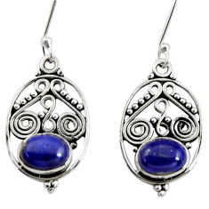 4.23cts natural blue lapis lazuli 925 sterling silver dangle earrings d37979