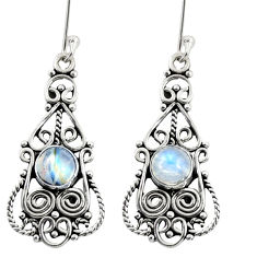 925 sterling silver 2.46cts natural rainbow moonstone dangle earrings d37980