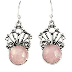 925 sterling silver 8.44cts natural pink rose quartz dangle earrings d37984