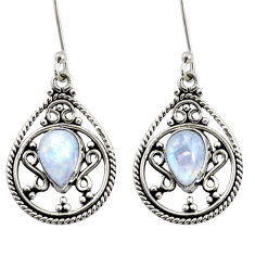 Clearance Sale- 4.70cts natural rainbow moonstone 925 sterling silver dangle earrings d37989