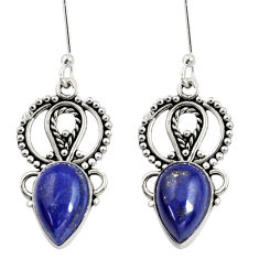 9.47cts natural blue lapis lazuli 925 sterling silver dangle earrings d37990