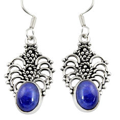 Clearance Sale- 4.93cts natural blue lapis lazuli 925 sterling silver dangle earrings d37992