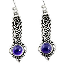 Clearance Sale- 925 sterling silver 2.77cts natural purple amethyst dangle earrings d37994