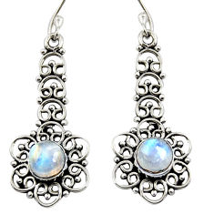 Clearance Sale- 2.68cts natural rainbow moonstone 925 sterling silver dangle earrings d37996