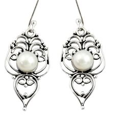 Clearance Sale- 5.63cts natural white pearl 925 sterling silver dangle earrings jewelry d38001
