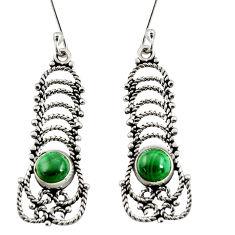 2.56cts natural green malachite (pilot's stone) silver dangle earrings d38006