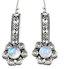 Clearance Sale- 2.94cts natural rainbow moonstone 925 sterling silver dangle earrings d38007