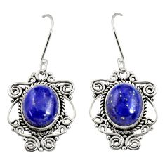 Clearance Sale- 10.02cts natural blue lapis lazuli 925 sterling silver dangle earrings d38011