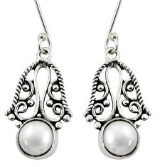 Clearance Sale- 5.38cts natural white pearl 925 sterling silver dangle earrings jewelry d38016