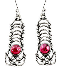 Clearance Sale- 925 sterling silver 2.72cts natural red garnet dangle earrings jewelry d38017