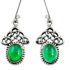 4.69cts natural green chalcedony 925 sterling silver dangle earrings d38018