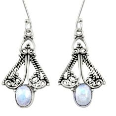 Clearance Sale- 925 sterling silver 4.47cts natural rainbow moonstone dangle earrings d38020