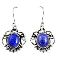 Clearance Sale- 10.21cts natural blue lapis lazuli 925 sterling silver dangle earrings d38022