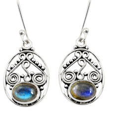 Clearance Sale- 4.23cts natural blue labradorite 925 sterling silver dangle earrings d38023