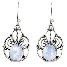 Clearance Sale- 7.82cts natural rainbow moonstone 925 sterling silver dangle earrings d38025