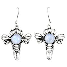 7.89cts natural rainbow moonstone 925 sterling silver dragonfly earrings d38026