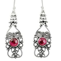 Clearance Sale- 2.46cts natural red garnet 925 sterling silver dangle earrings jewelry d38027