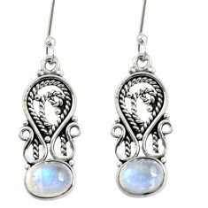 4.08cts natural rainbow moonstone 925 sterling silver dangle earrings d38030